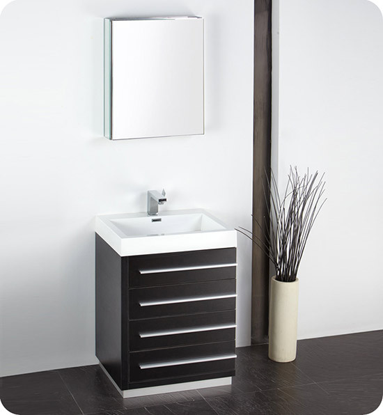 Fresca Livello (single) 23.4-Inch Black Modern Bathroom Vanity Set