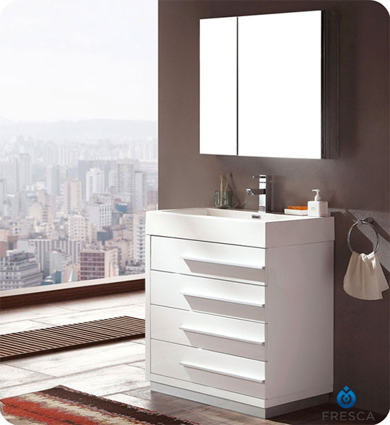 Fresca Livello (single) 29.4-Inch White Modern Bathroom Vanity Set