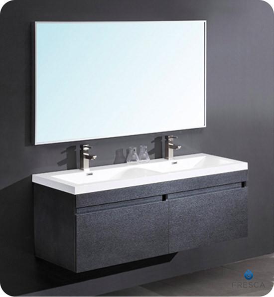 Fresca Largo (double) 56.6-Inch Black Modern Wall-Mount Bathroom Vanity Set