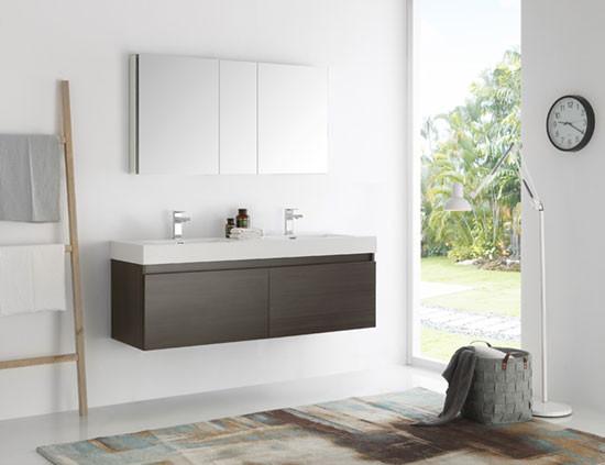 Fresca Mezzo (double) 59 Inch Gray Oak Modern Wall Mount Bathroom Vanity Set