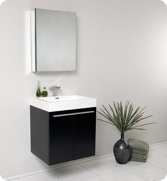 Fresca Alto (single) 22.63-Inch Black Modern Wall-Mount Bathroom Vanity Set