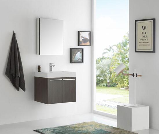 Fresca Alto (single) 22.63-Inch Gray Oak Modern Wall-Mount Bathroom Vanity Set
