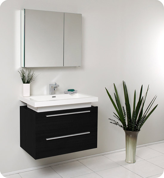 Fresca Medio (single) 31.4-Inch Black Modern Wall-Mount Bathroom Vanity Set