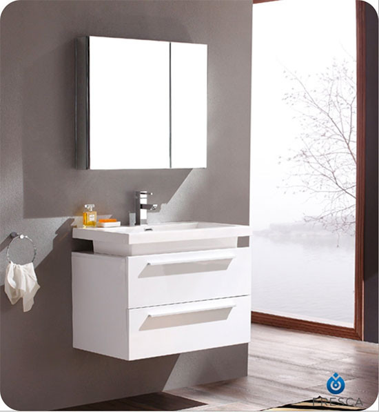 Fresca Medio (single) 31.4-Inch White Modern Wall-Mount Bathroom Vanity Set