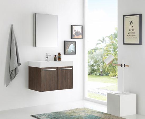 Fresca Vista Single 29 5 Inch Modern Wall Mount Bathroom Vanity Walnut