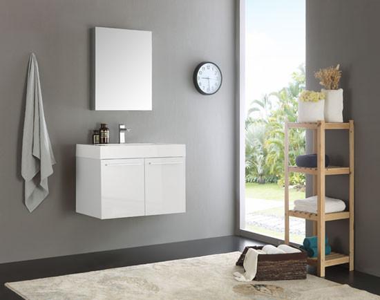 Fresca Vista (single) 29.5-Inch Modern Wall-Mount Bathroom ...