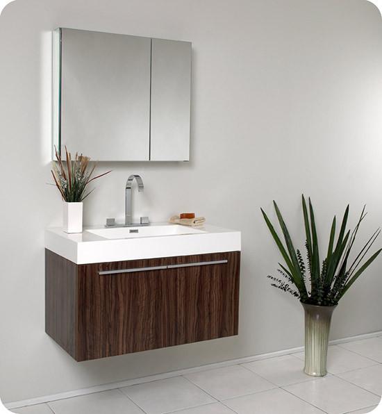Fresca Vista (single) 35.4-Inch Walnut Modern Wall-Mount Bathroom Vanity Set