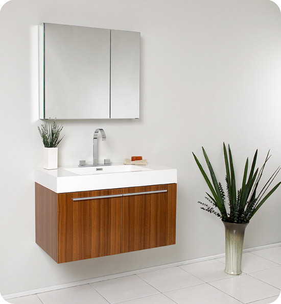 Fresca Vista (single) 35.4-Inch Teak Modern Wall-Mount Bathroom Vanity Set