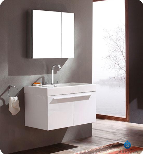 Fresca Vista (single) 35.4-Inch White Modern Wall-Mount Bathroom Vanity Set