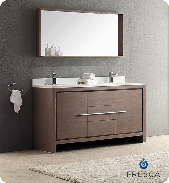 Fresca Allier (double) 60-Inch Gray Oak Modern Bathroom Vanity Set