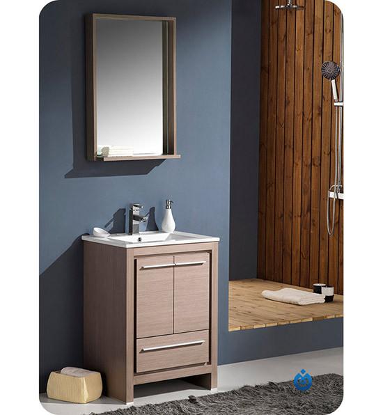 Fresca Allier (single) 24-Inch Gray Oak Modern Bathroom Vanity Set