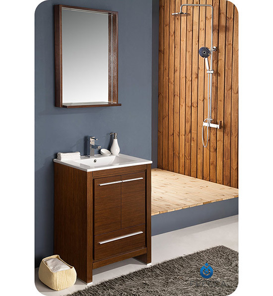 Fresca Allier (single) 24-Inch Wenge Brown Modern Bathroom Vanity Set