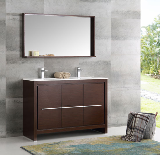 Fresca Allier (double) 47.38-Inch Wenge Brown Modern Bathroom Vanity Set