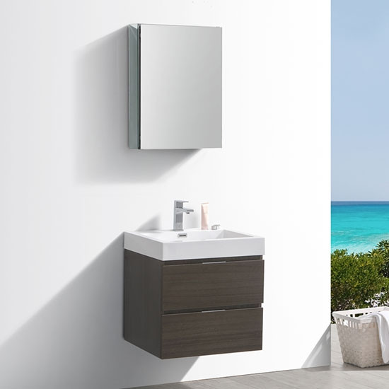 Fresca Valencia Inch Modern WallMount Bathroom Vanity Gray Oak - 24 inch bathroom vanity gray