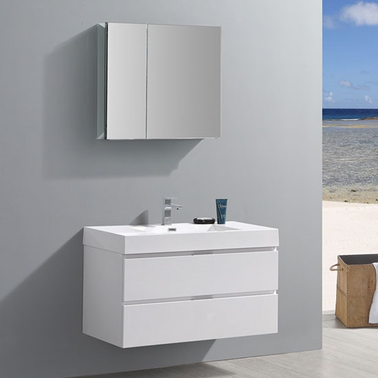 Fresca Valencia 40 Inch Modern Wall Mount Bathroom Vanity Glossy White