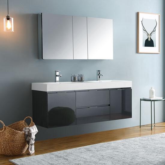 Fresca Valencia Double 60 Inch Modern Wall Mount Bathroom Vanity Glossy Gray