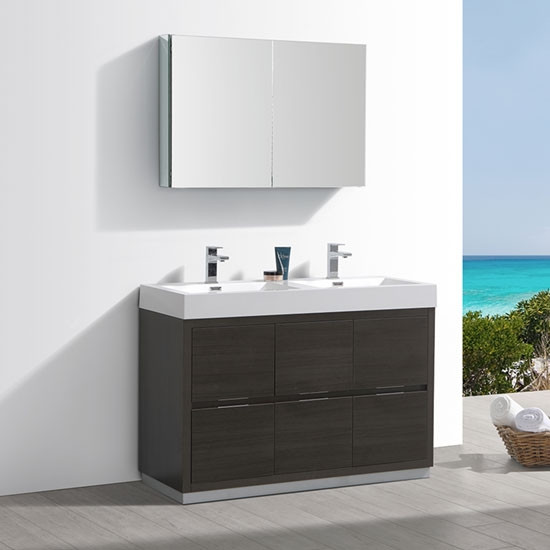 Fresca Valencia Double Inch Modern Bathroom Vanity Gray Oak - 48 gray bathroom vanity