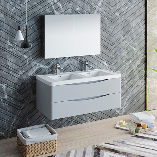 Fresca Tuscany (double) 47.3-Inch Glossy Gray Modern Wall-Mount Bathroom Vanity Set