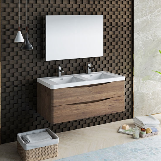 Fresca Tuscany (double) 47.3-Inch Rosewood Modern Wall-Mount Bathroom Vanity Set
