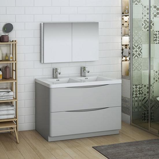 Fresca Tuscany (double) 47.3-Inch Glossy Gray Modern Bathroom Vanity Set