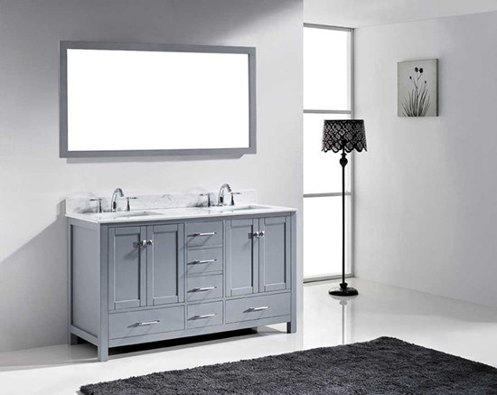 Virtu usa caroline avenue double 60 8 inch transitional bathroom vanity with mirror grey for Caroline 60 inch double sink bathroom vanity set