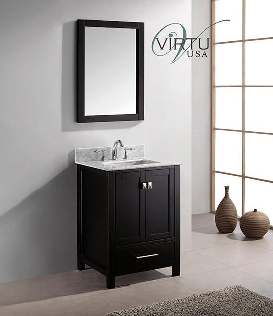 Virtu USA Caroline Avenue (single) 24.8-Inch Espresso Contemporary Bathroom Vanity With Mirror