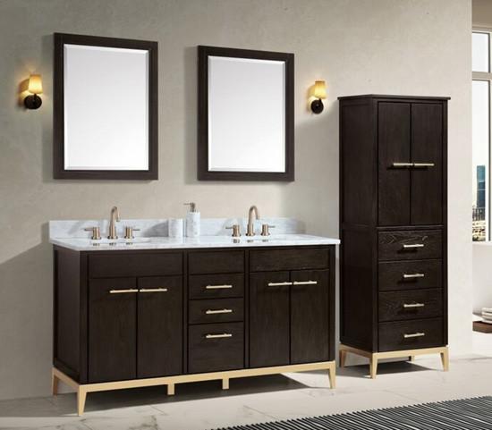 Bathroom Vanity Dark Chocolate, 65 Inch Bathroom Vanity Double Sink