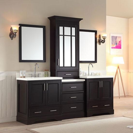 Ariel Stafford Double 85 Inch Transitional Bathroom Vanity Set Espresso