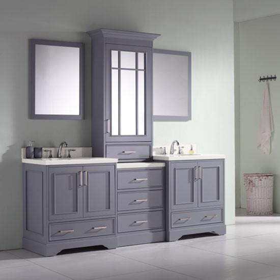 Ariel Stafford Double 85 Inch Transitional Bathroom Vanity Set Grey