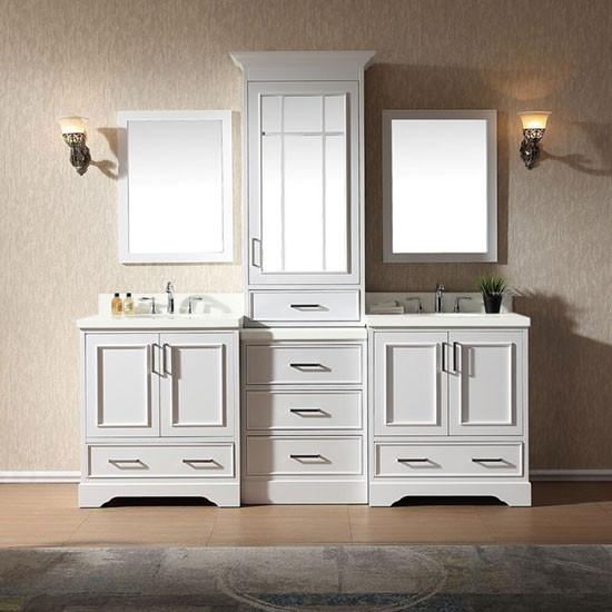 Ariel Stafford Double 85 Inch Transitional Bathroom Vanity Set White
