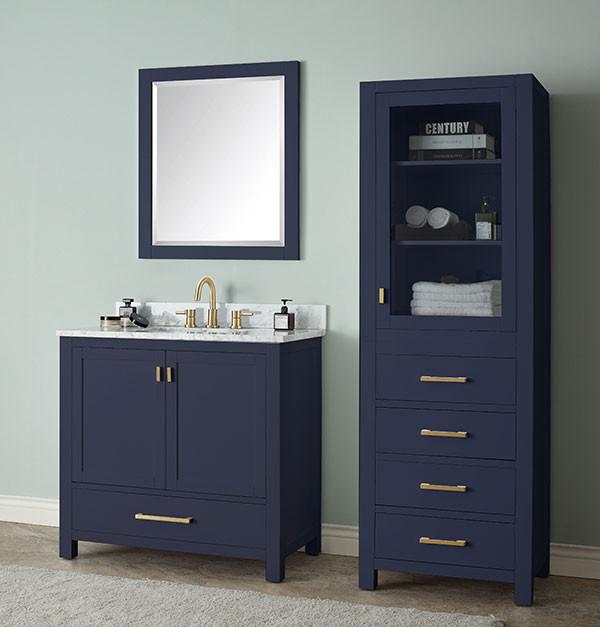 36 Inch Traditional Bathroom Vanity, Blue Bathroom Vanity Cabinet