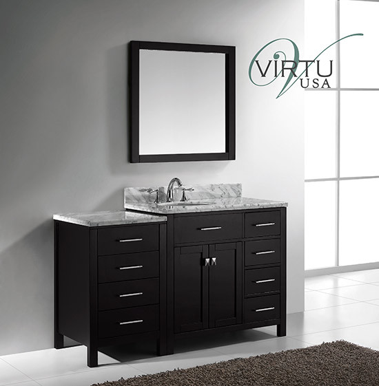 Virtu USA Caroline Parkway (single) 56.4-Inch Right Side Espresso Transitional Bathroom Vanity with Mirror