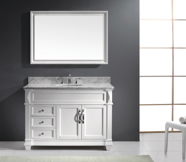 Virtu USA Victoria (single) 48-Inch White Transitional Bathroom Vanity With Mirror