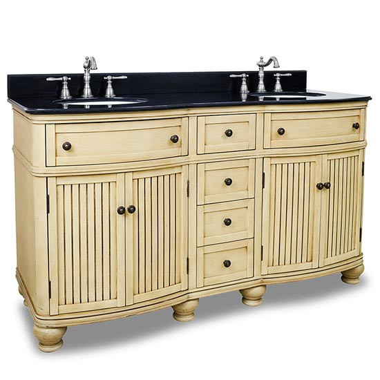 Hardware Resources Compton (double) 60.5-Inch Buttercream Transitional Bathroom Vanity