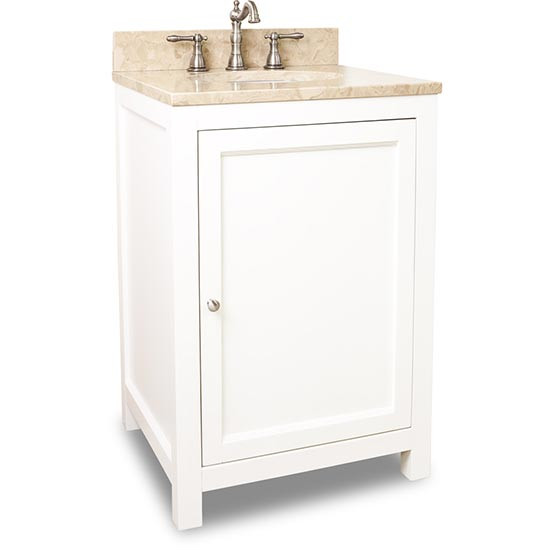 Hardware Resources Astoria Modern Single 24 Inch Transitional Bathroom Vanity Cream White