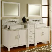 Artesia (double) 84-Inch Pearl White Modern Bathroom Vanity Set