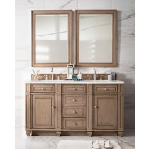 James Martin Bristol (double) 60-Inch White Washed Walnut Vanity Cabinet & Optional Countertops