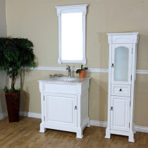 Harlow (single) 30-inch White Traditional Bathroom Vanity With Mirror Option