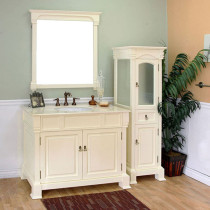 Harlow (single) 42-inch Cream White Traditional Bathroom Vanity With Mirror Option