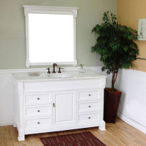 Harlow (single) 60-inch White Traditional Bathroom Vanity With Mirror Option