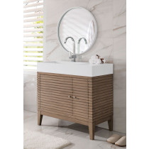 James Martin Linear (single) 35.5-Inch White Washed Walnut Modern Bathroom Vanity