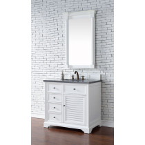 James Martin Savannah (single) 36-Inch Cottage White Vanity Cabinet & Optional Countertops