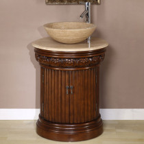 Maya (single) 24-Inch Round Vessel Sink Bathroom Vanity