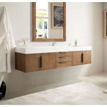 James Martin Mercer Island (single) 72.5-Inch Latte Oak Modern Wall-Mount Bathroom Vanity