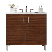 James Martin Metropolitan (single) 36-Inch American Walnut Vanity Cabinet & Optional Countertops