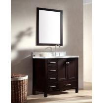 Ariel Cambridge (single) 37-Inch Espresso Modern Bathroom Vanity Set with Oval Sink on Right