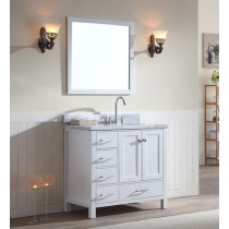 Ariel Cambridge (single) 37-Inch White Modern Bathroom Vanity Set with Oval Sink on Right