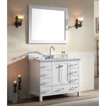 Ariel Cambridge (single) 43-Inch White Modern Bathroom Vanity Set