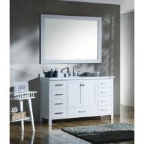 Ariel Cambridge (single) 55-Inch White Modern Bathroom Vanity Set with Oval Sink