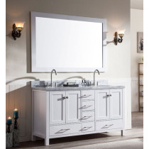Ariel Cambridge (double) 61-Inch White Modern Bathroom Vanity Set with Oval Sinks